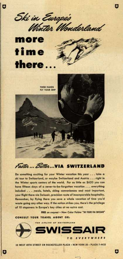 SwissAir's Ski tours – Ski in Europe's Winter Wonderland (1954)