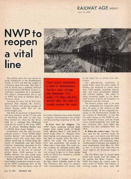 """Nwp To Reopen a Vital Line"" Article (1965)"