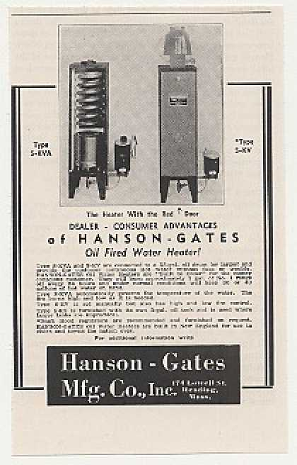 Hanson Gates Oil Fired Water Heater (1947)