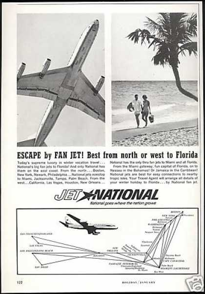 Jet National Airlines System Map Print Photo (1963)