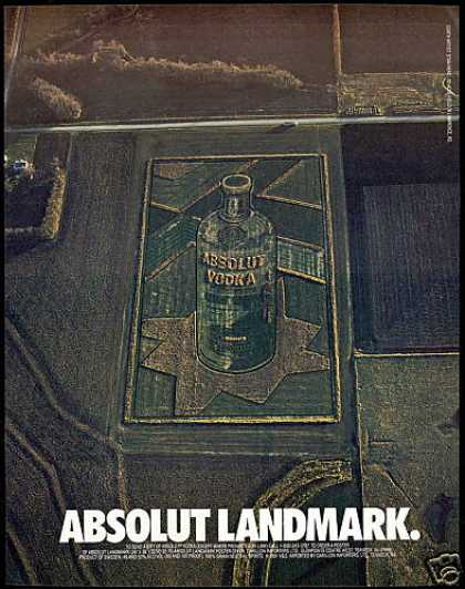 Absolut Landmark Vodka Bottle Farm Land (1993)