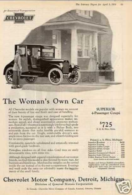 "Chevrolet 4-passenger Coupe Ad ""The Woman's... (1924)"