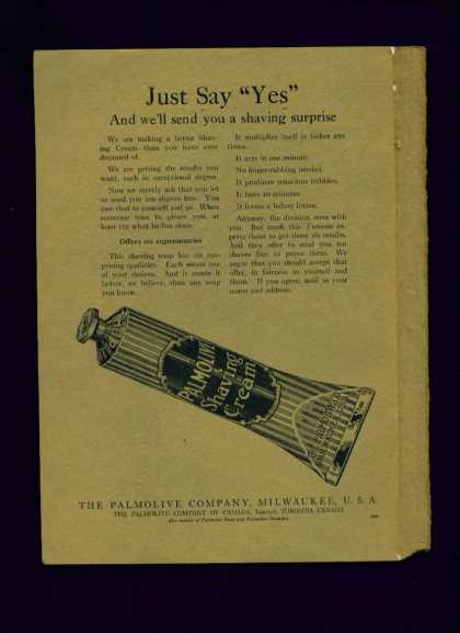 Palmolive Shaving Cream Ad Just Say Yes (1922)