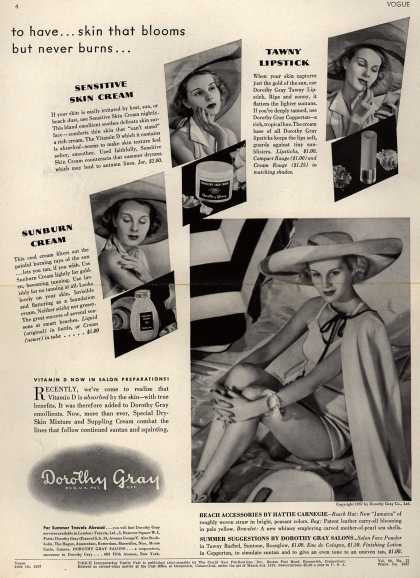 Dorothy Gray's Various – To have... skin that blooms but never burns... (1937)