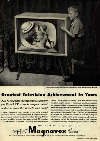 Magnavox Company's Television – Greatest Television Achievement In Years. New Form Factor in Magnavox design gives you 27-Inch TV screen in compact cabinet scaled to grace the avera (1952)