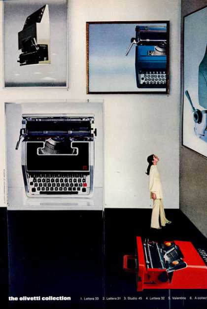 Olivetti Typewriters Lettera 31 33 Studio 45 32 (1971)