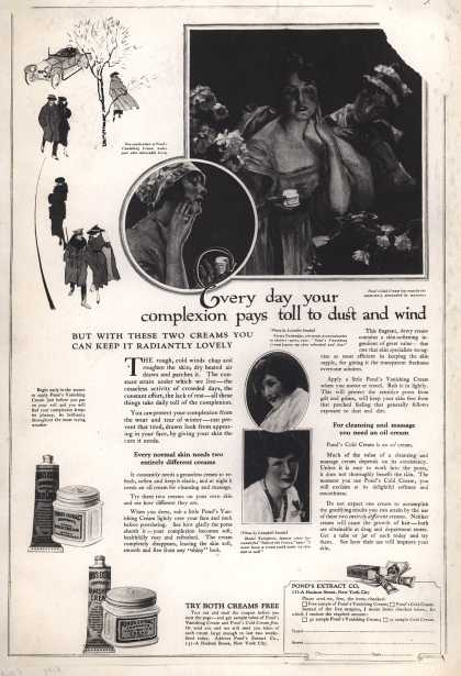 Pond's Extract Co.'s Pond's Cold Cream and Vanishing Cream – Every day your complexion pays toll to dust and wind (1918)