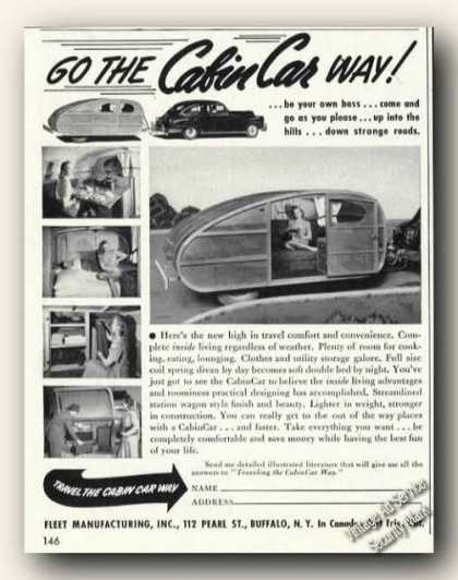 Cabincar Travel Trailers Buffalo Ny Antique (1947)