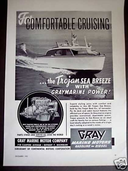 Trojan Sea Breeze Boat W Gray Marine Motor (1953)