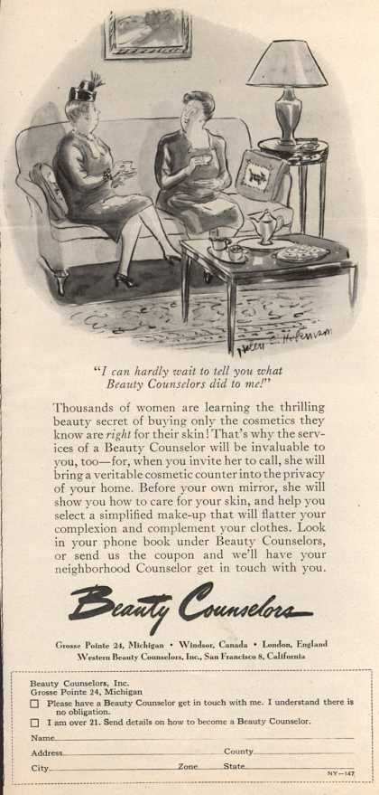 """Beauty Counselor's Cosmetics – """"I can hardly wait to tell you what Beauty Counselors did to me!"""" (1947)"""