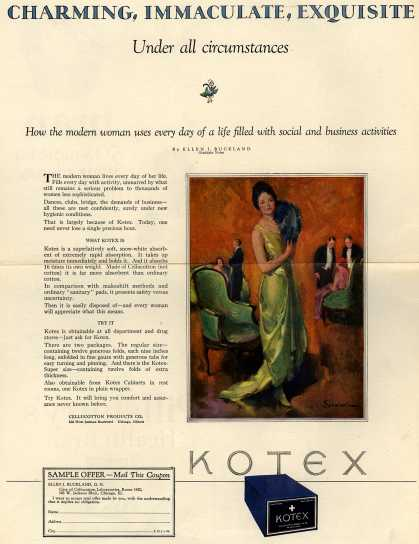 Cellucotton Products Company's Sanitary Napkins – Charming, Immaculate, Exquisite (1924)