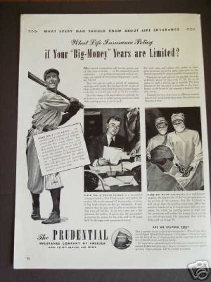 Baseball Star Bob Grady Prudential Insurance (1942)