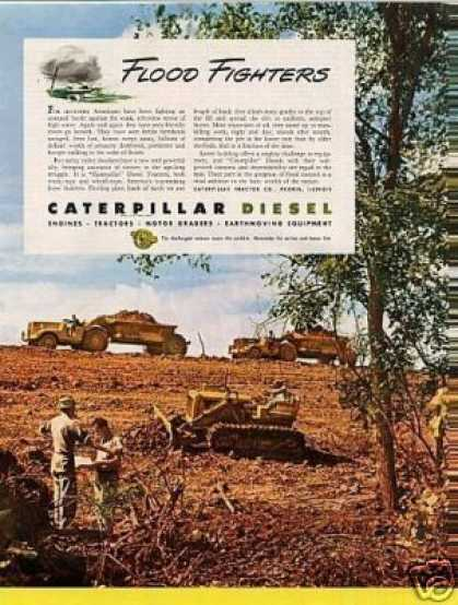 "Caterpillar Diesel Tractors Ad ""Flood Fighters... (1946)"