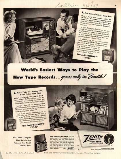 Zenith Radio Corporation's models with Cobra Tone Arm – World's Easiest Ways to Play the New Type Records... yours only in Zenith (1949)