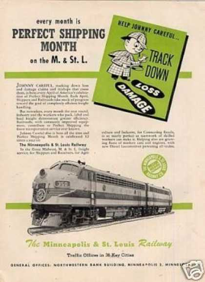 Minneapolis & St. Louis Railway Ad Emd F-7's (1950)