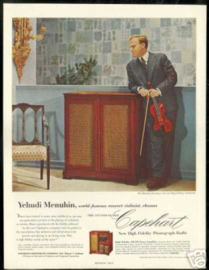 Yehudi Menuhin Vintage Photo Capehart Radio (1954)