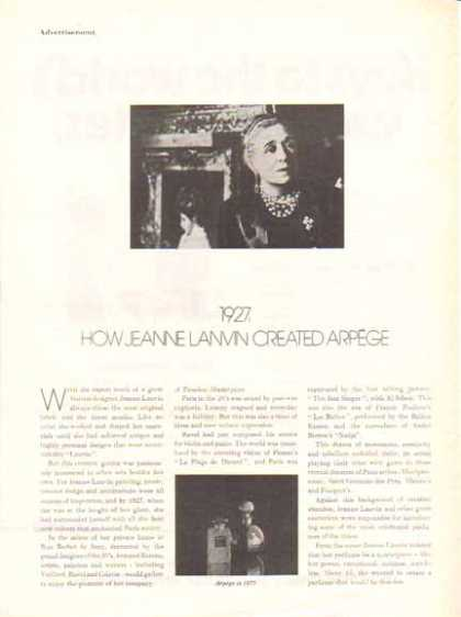 Arpege Perfume Article Advertisment – Jeanne Lanvin (1977)