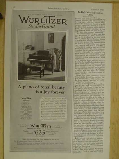 Wurlitzer Studio Grand Piano. A joy forever (1926)