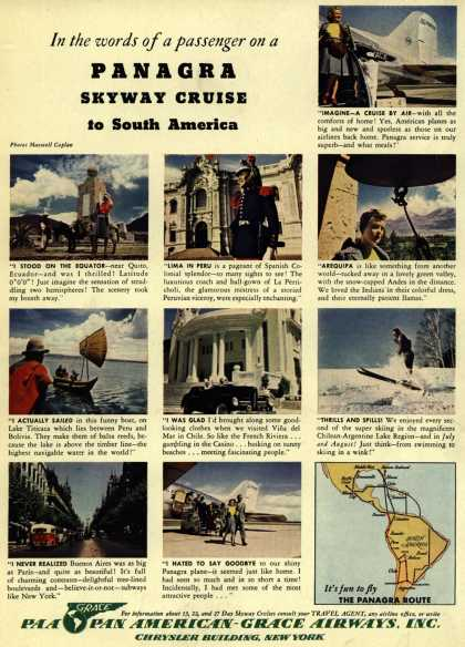Pan American Grace Airway's Skyway Cruises to South America – In the words of a passenger on a Panagra Skyway Cruise to South America (1941)