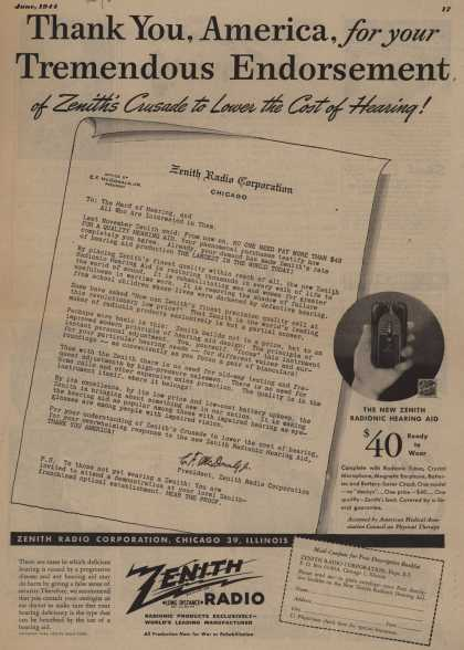 Zenith Radio Corporation's Radionic Hearing Aid – Than You, America, for your Tremendous Endorsement of Zenith's Crusade to Lower the Cost of Hearing (1944)