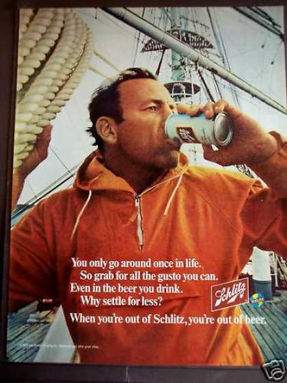 Man On a Boat Drinking Schlitz Beer (1970)