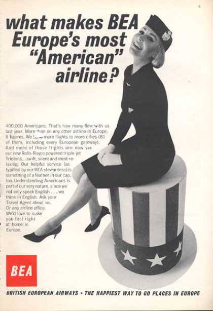 Bea British European Airlines Stewardess Us Hat (1966)
