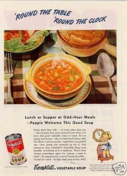 "Campbell's Vegetable Soup Ad ""Round the Table... (1946)"