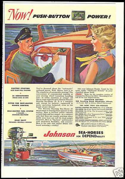 Johnson Outboard Boat Motor Push Button (1954)