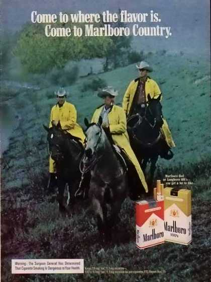 Marlboro Cigarettes – Real Cowboy's ride in the rain. (1975)