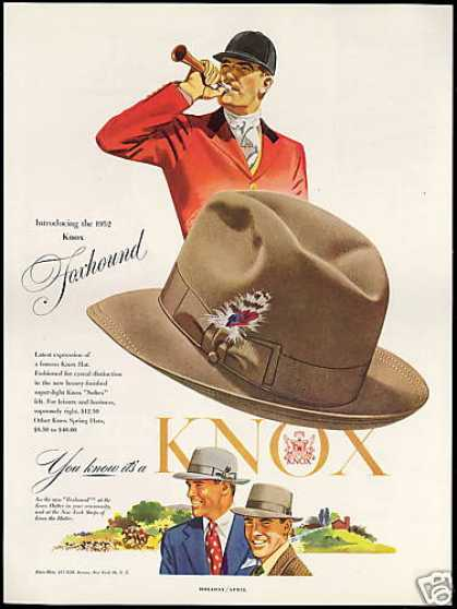 Knox Foxhound Mens Fashion Hat (1952)