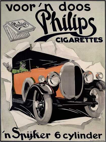 Cigarrillos Philips y automviles Spijker &#8211; Emrik &amp; Binger &#8211; Holanda (1920)