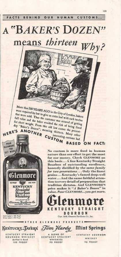 Glenmore Kentucky Bourbon Whiskey (1938)