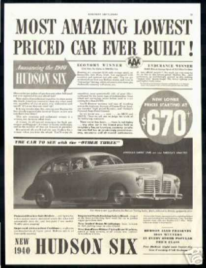 Hudson Six Car Lowest Price Vintage (1940)