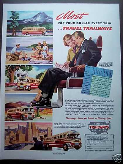 Trailways Bus Rate Chart Vacation Travel (1949)