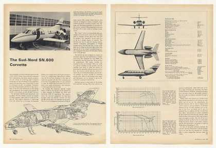 Sud-Nord SN 600 Corvette Aircraft 2-Page Article (1969)