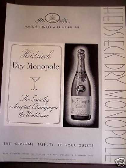 Heidsieck Dry Monopole French Champagne (1934)