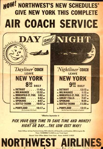 Northwest Airline's Schedules – Now! Northwest's New Schedules Give New York This Complete Air Coach Service (1950)