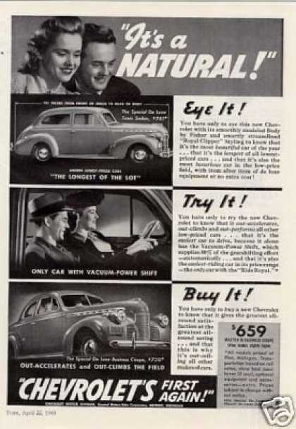 "Chevrolet Cars Ad ""It's a Natural... (1940)"