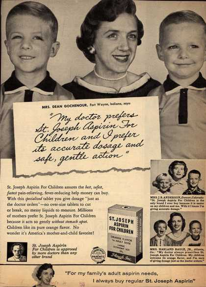 "Plough's St. Joseph Aspirin for Children – ""My doctor prefers St. Joseph Aspirin For Children and I prefer its accurate dosage and safe, gentle action"" (1958)"