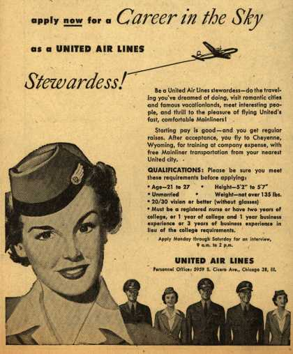 United Air Line's Stewardess job – apply now for a Career in the Sky as a United Air Lines Stewardess (1951)