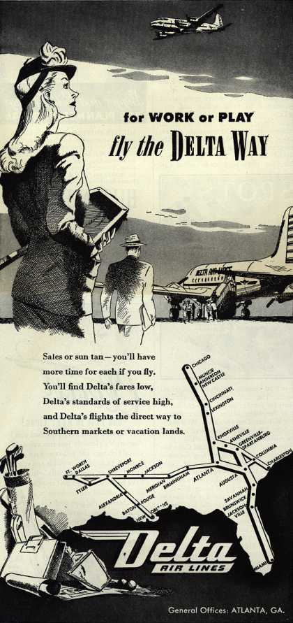 Delta Airlines – For Work or Play fly the Delta Way (1945)
