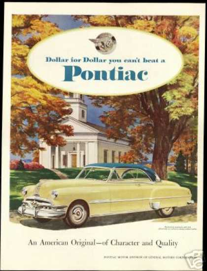 Pontiac Yellow & Blue 2 Door Vintage Print Car (1951)