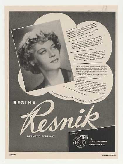 Dramatic Soprano Regina Resnik Photo (1948)