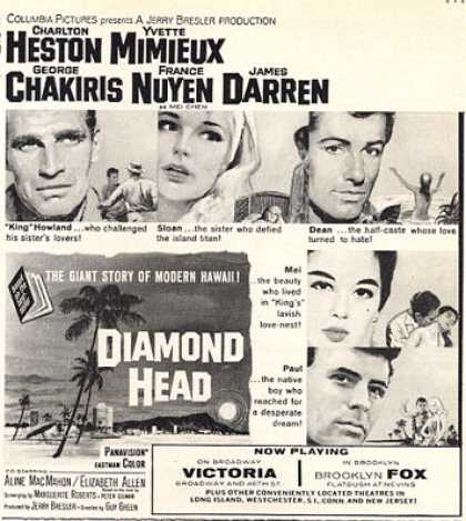 Diamond Head Movie Ad Charlton Heston James Darren (1963)