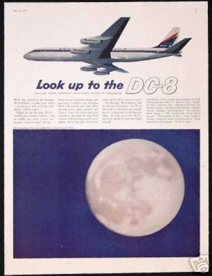 Douglas DC-8 DC8 Plane Moon Photo Vintage (1959)