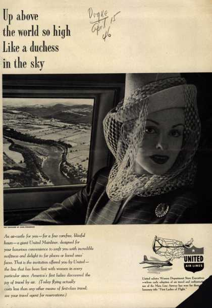 United Air Line's Mainliner – Up above the world so high like a duchess in the sky (1946)