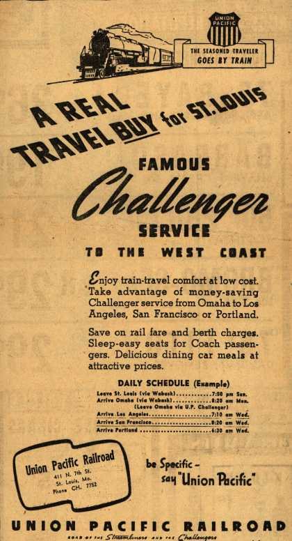 Union Pacific Railroad's Challenger – A Real Travel Buy for St. Louis: Famous Challenger Service to the West Coast (1946)