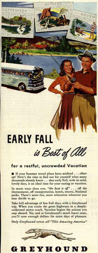 Greyhound's Fall Vacation Travel – Early Fall is Best of All (1947)