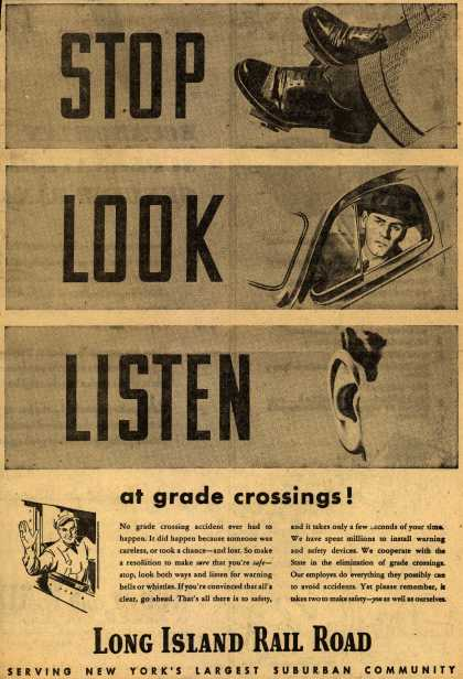 Long Island Rail Road's Safety reminder – Stop Look Listen at grade crossings (1946)