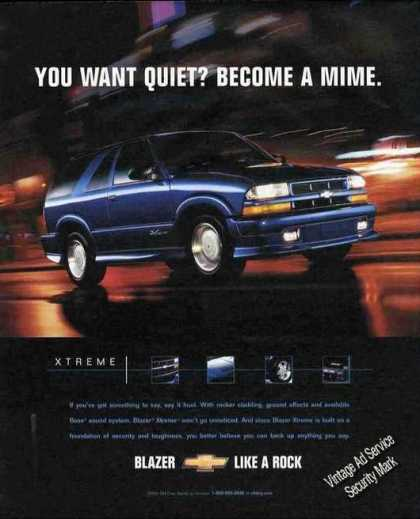 "Chevrolet Blazer ""You Want Quiet Become a Mime"" (2001)"